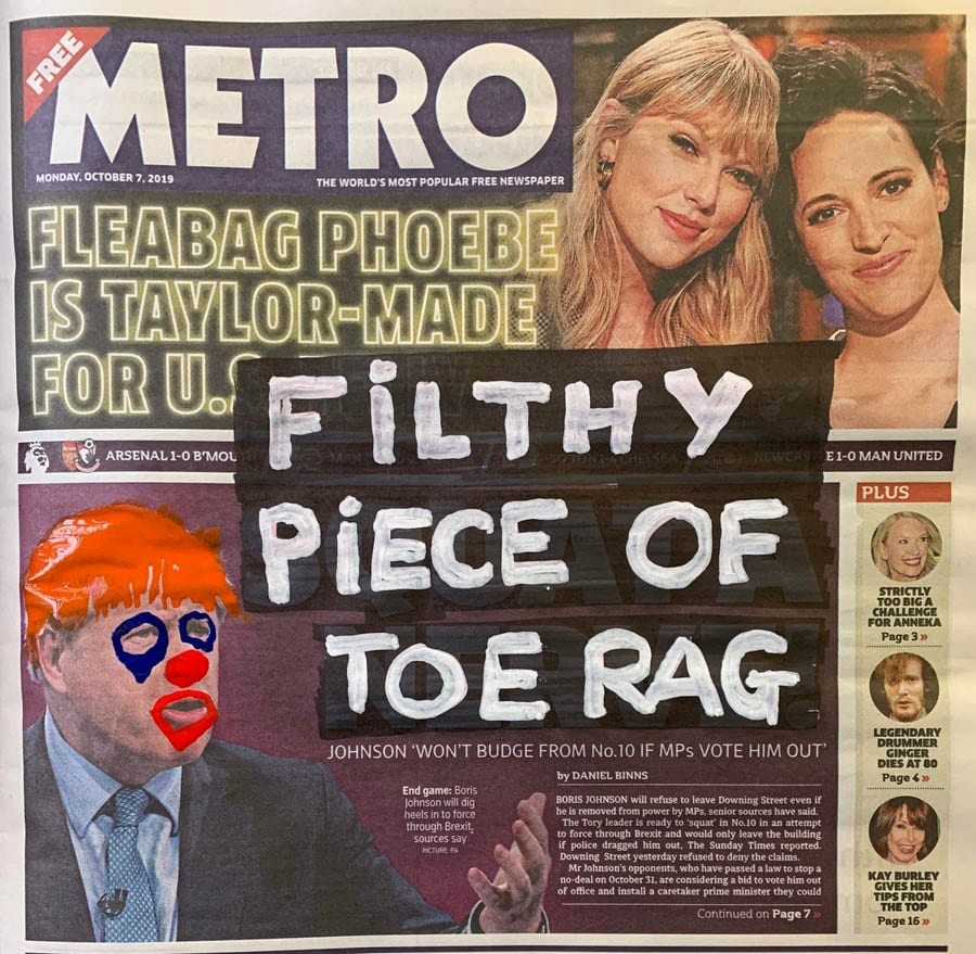 """Mrs Filthy Piece of Toerag – Angry pensioner constituent of Boris Johnson – This purple coated pensioner told Sky News' Sophy Ridge that she considers Prime Minister Boris Johnson """"a filthy piece of toerag"""" in Uxbridge on 6th October 2019."""