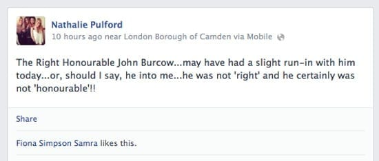 Nathalie Pulford took to Facebook to rant about John Bercow