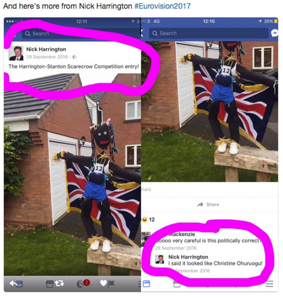 "Racist Tory councillor and director of Ambay Software Nick Harrington – Bigot Nick Harrington tweeted: ""You can keep your f***ing gypsies"" after Ireland gave Britain 'nul points' in Eurovision Song Contest."
