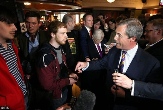 Hecklers interrupt a press conference with Nigel Farage in The Canons' Gait in Edinburgh
