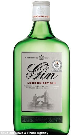 Oliver Cromwell London Dry Gin - £9.65 for a 70cl bottle at Aldi