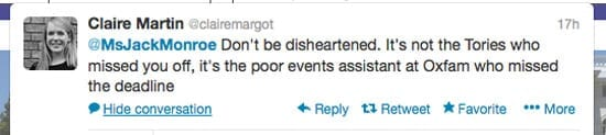Also in Twitter, a lady named Claire Martin corrected her with regard to this latest error