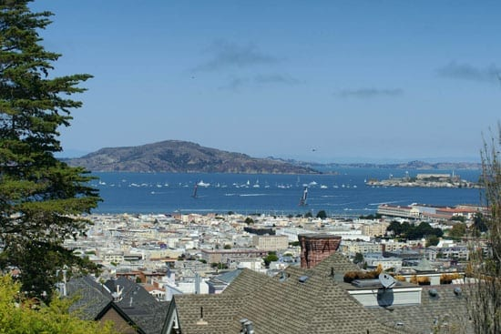 On a good day one can look across the Bay to Alcatraz and Tiburon beyond
