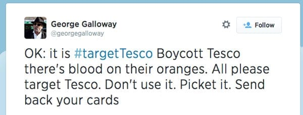 One of Galloway's many anti-Tesco tweets