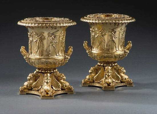 Pair of George III silver-gilt wine coolers