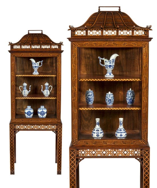 Pair of pagoda top cabinets