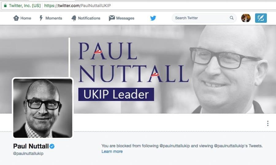 Blocked by Nuttall – Paul Nuttall blocks Matthew Steeples on Twitter