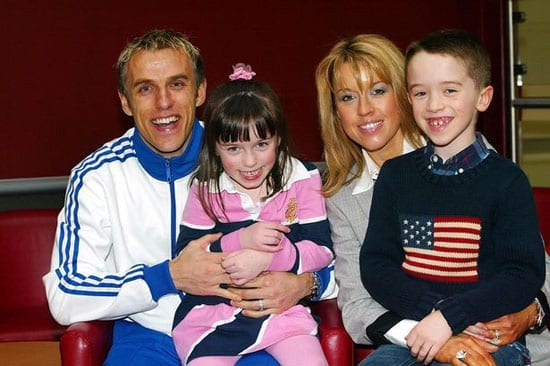 Phil and Julie Neville with their children Isabella and Harvey