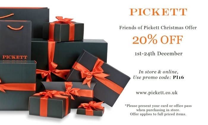 Reader Offer – 20% Discount at Pickett – 20% discount at luxury goods retailer Pickett this Christmas