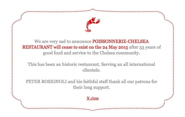 Closing the avenue - Chelsea institution Poissonnerie de l'Avenue to close after 53 years in business on 24th May