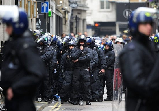 Police protecting the streets of London from irresponsible anarchists