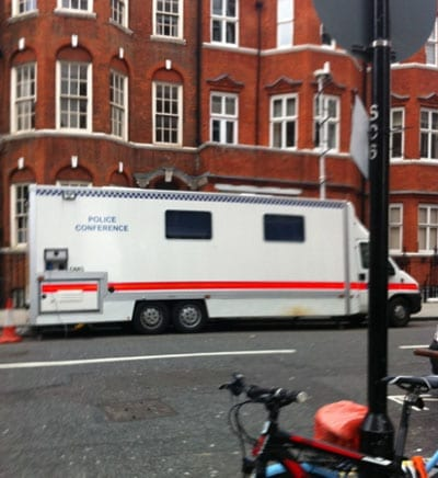 A police conference van is permanently parked opposite the embassy building