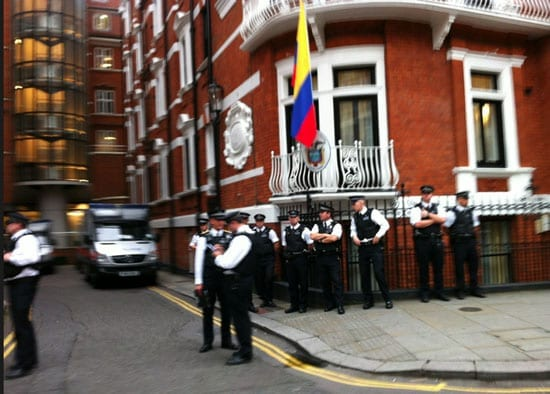 Police have been waiting for Julian Assange to leave the Ecuadorean Embassy for nearly one year