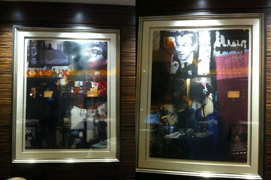 Artwork depicts many political subjects including the eras of Blair and Major
