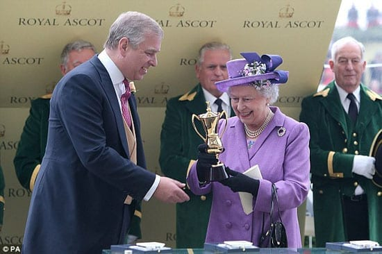 Prince Andrew presents the Queen with the Gold Cup