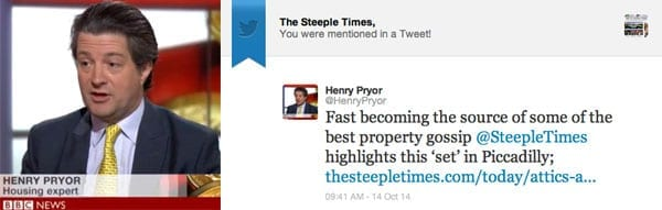 Property expert Henry Pryor's comment about 'The Steeple Time's on Twitter comes just as our readership topped 500,000 in a single day