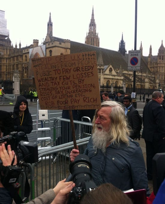 A lone protester had his moment to share his views. Most paid little attention to his diatribe.