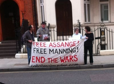 Only around four to six supporters gather outside the Ecuadorean Embassy each day now