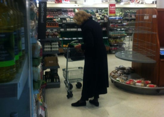 Convicted racist Baroness Marie-Claire von Alvensleben spotted shopping in Waitrose Belgravia on 27th February 2014 at just before 9pm