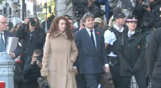 Rebekah Brooks arives at the Old Bailey today with her husband Charlie