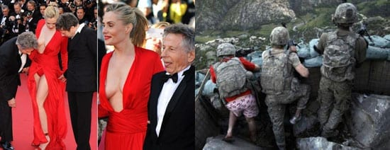 Red fashion fails: Roman Polanski's wife Emmanuelle Seigner slips up on the red carpet at Cannes and @LaurenceBenson's submission of a man in red in a war zone is plainly illustrative of the case of someone who failed to look in the mirror before setting out on his mission.