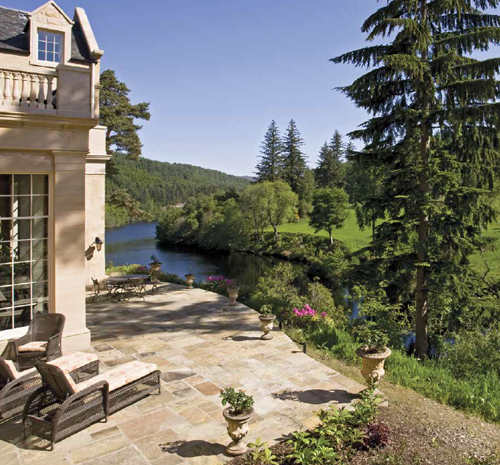 The property's impressive terrace overlooking the River Beauly