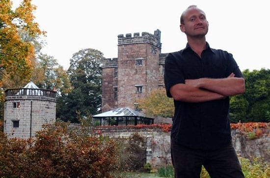 Robin MacDonald pictured with Caverswall Castle behind him