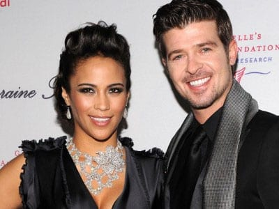 Robin Thicke with his wife Paula Patton