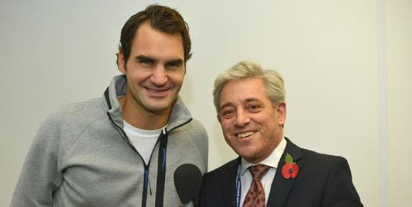Tennis legend Roger Federer with House of Commons Speaker John Bercow