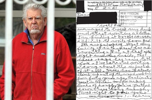 Repugnant Rolf - Rolf Harris shows his true colours in a letter to a friend (who happily sold him down the river to the 'Mail on Sunday')