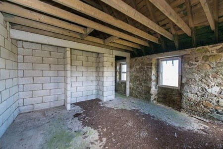 A room with breeze block walling illustrates some of the progress that was made by Mirrlees