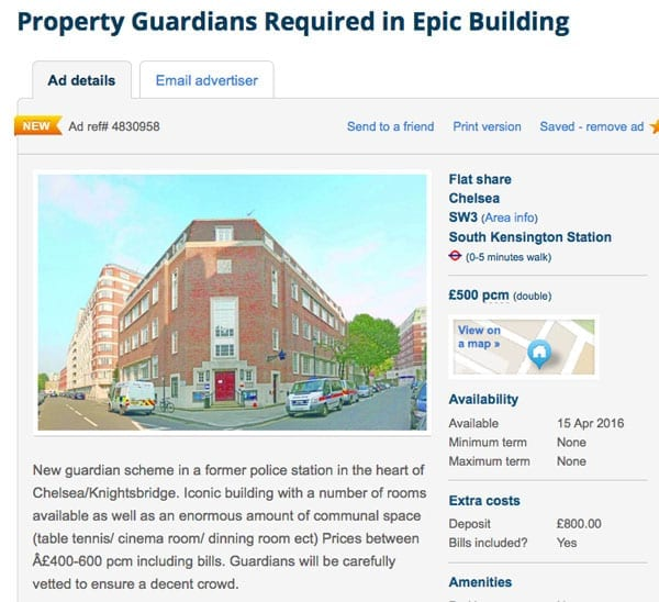 Policing the police - Rooms to rent in former Chelsea Police Station