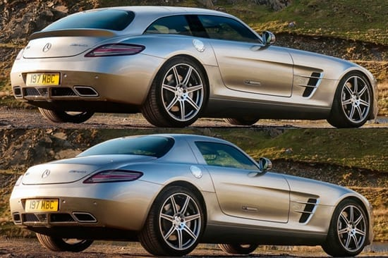 Youdesign's rendering comparing a Mercedes-Benz SLS with their version of it as a shooting brake (© Youdesign)