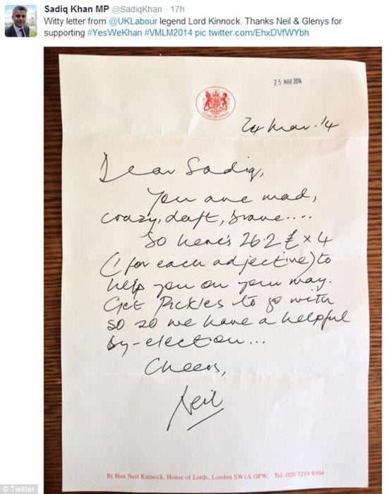 Sadiq Khan MP tweeted the letter of support he received from Neil Kinnock