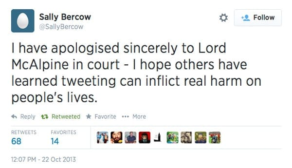 Sally Bercow had to apologise to Lord McAlpine in open court following her misguided tweet