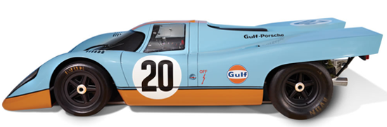 The exterior features race worn tyres and is decorated in the famous blue and orange Gulf Oil livery as as the #20 racing decals