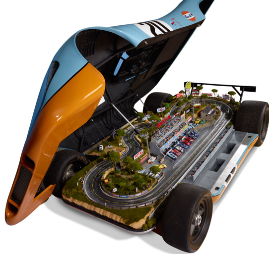 The $125,000 model track is housed in the body of a replica Porsche 917