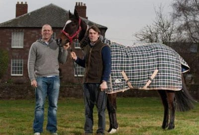 English rugby player Mike Tindall MBE with Welsh National winner Monberg Dude and trainer Michael Scudamore