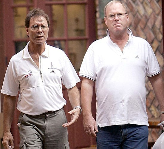 Sir Cliff Richard with friend, the former father John McElynn