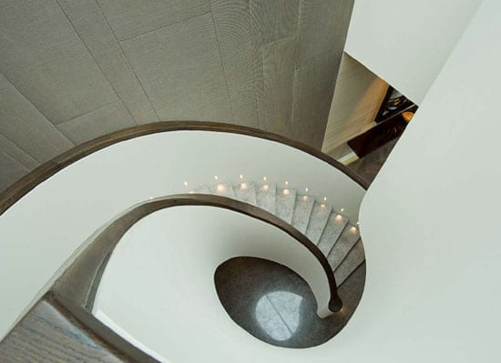 The duplex features a most impressive staircase