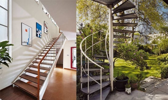 Staircases outside and in