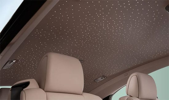 The car's roof lining features Starlight Headliner technology to give the feel of a starlit night