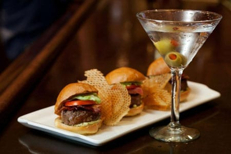 Steak burger sliders and a martini