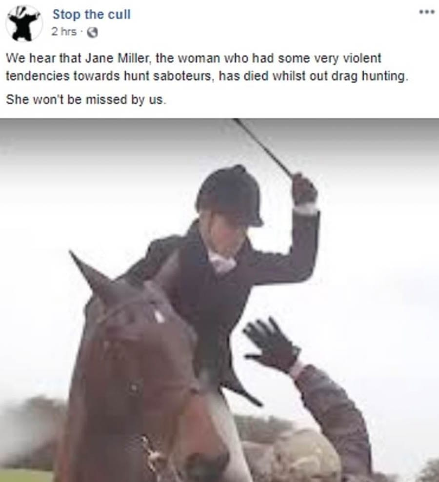 Sick Sabs – Hunt saboteurs who trolled dead woman are a disgrace – Hunt saboteurs who trolled the family of a dead huntswoman should be ashamed of themselves.