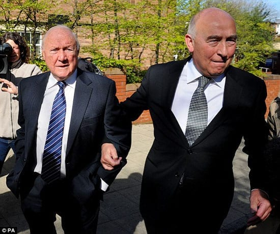 Stuart Hall arrives at Preston Crown Court with his solicitor, Maurice Watkins, on Thursday 2nd May 2013