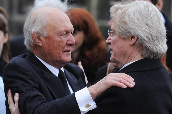 Convicted paedophile Stuart Hall pictured with actor William Roache (who awaits trial on similar allegations)