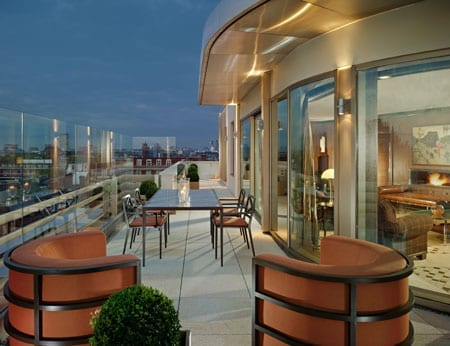 Suites with terraces boast views over Hyde Park and the rooftops of Mayfair