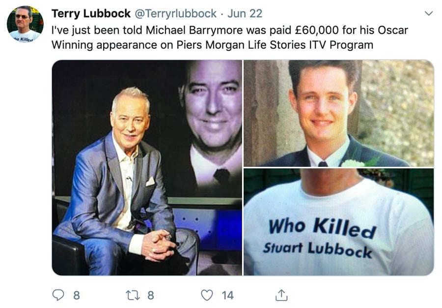 """It's NOT Hilarious – Michael Barrymore and death of Stuart Lubbock – As Michael Barrymore is branded """"hilarious"""" and a """"novelty"""" as he makes his TV comeback, we suggest there is no """"comic impact"""" about this at all; what is required instead is justice for the late Stuart Lubbock. Present on 31st March 2001 – Michael Parker (AKA Michael Barrymore), Kelly Campbell, James Futters, Claire Jones, Jonathan Kenney, Justin Merritt, Kylie Merritt and Simon Shaw. Arrived later – Mike Brown. Father of victim – Terry Lubbock."""