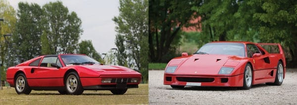 The 1989 Ferrari 328 GTS and the 1989 Ferrari F40 both sold well