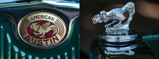 The American Austin Car Company's emblem and mascot are proudly displayed on this fine vehicle
